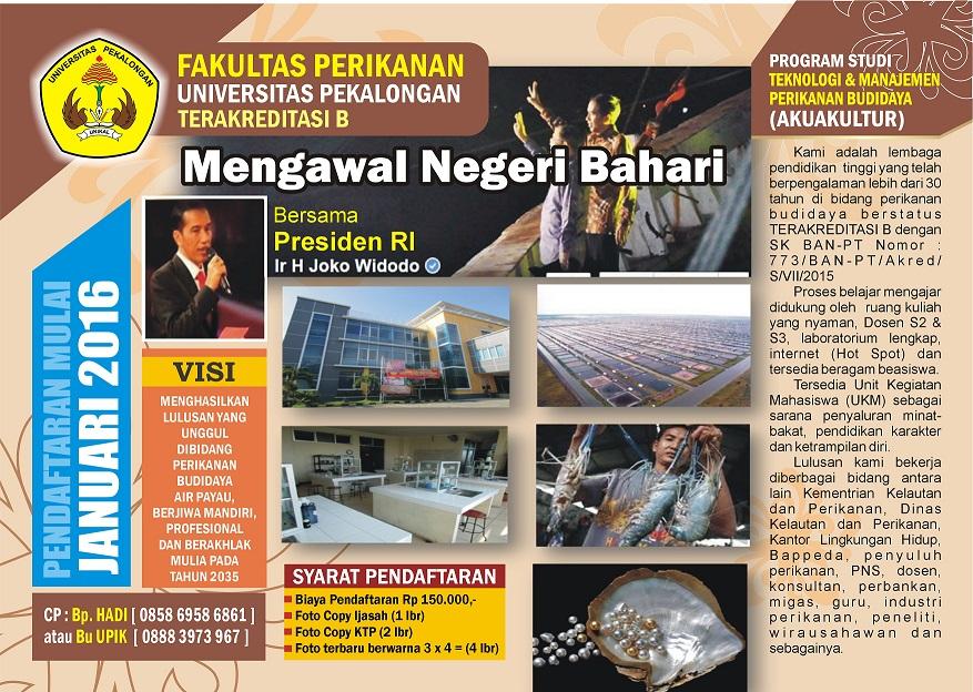 Brosur : Pendaftaran Mahasiswa Baru Fakultas Perikanan Universitas Pekalongan.